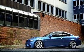 Картинка голубой, BMW, БМВ, профиль, диски, e92, Atlantis Blue