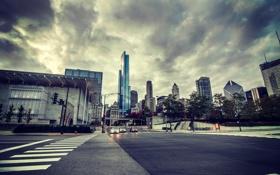 Картинка город, машины, здания, Иллинойс, небоскребы, улица, Чикаго