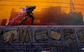 Обои молния, арт, вагон, мужчина, заряд, Infamous 2