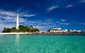Обои песок, камни, маяк, остров, океан, пальмы