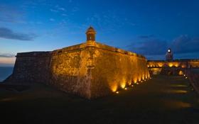 Картинка небо, облака, ночь, стена, маяк, башня, крепость
