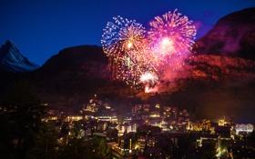 Обои ночь, огни, Швейцария, гора Маттерхорн, фейерве́рк, пик Дюфур, горнолыжный курорт Церматт
