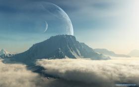 Обои облака, горы, планеты, спутник, art, terraspace