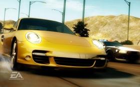 Обои скорость, полиция, погоня, Porsche, Need for Speed Undercover