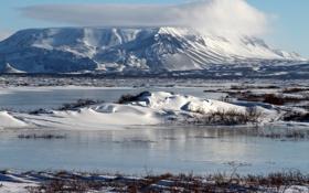 Обои снег, пейзаж, горы, природа, Исландия, Blаfjall