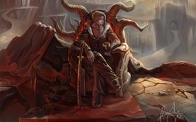 Обои камни, рога, скалы, меч, кровь, трон, цепь