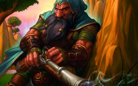 Обои World of Warcraft, Дворф, Ружье, Hunter, Охотник, Dwarf