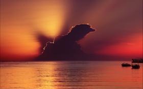 Картинка море, небо, вода, лучи, пейзаж, закат, океан