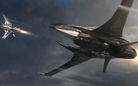 Картинка космос, звезды, полет, Esperia Vanduul Blade, Star Citizen