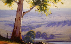 Обои дерево, Рисунок, арт, artsaus, Hazy Morning Cottles Bridge
