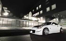 Картинка белый, Nissan, 350Z, ноч