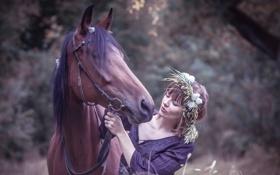 Обои природа, девушка, конь, настроение