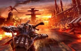 Обои дорога, небо, закат, город, огонь, скорость, Дракон