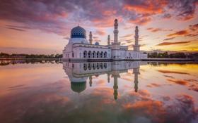 Обои облака, закат, отражение, зеркало, Мечеть, Малайзия, Likas Бэй