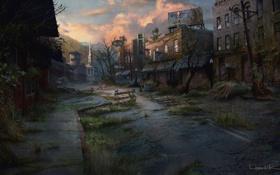 Обои город, арт, конец света, постапокалипсис, The Last of Us