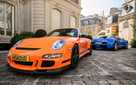 Картинка 911, Porsche, Bugatti, Veyron, Orange, Sky, Blue
