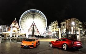 Картинка ночь, оранжевый, красный, город, огни, Ferrari, red