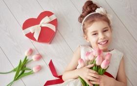 Обои любовь, сердце, девочка, тюльпаны, love, heart, romantic