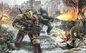 Обои город, оружие, пламя, доспехи, монстры, солдаты, огнемет