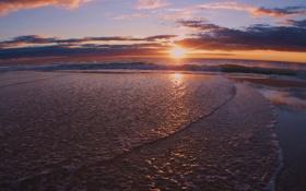 Картинка песок, море, волны, пляж, небо, пена, вода