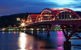Обои река, мост, огни