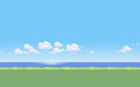 Обои море, трава, облака, bit