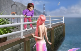 Обои Девочка, причал, русалка, перила, цветы