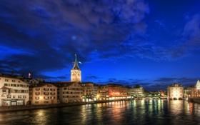 Обои ночь, река, Швейцария, Switzerland, night, Europe, Цюрих