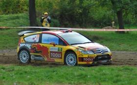 Обои Гонка, Citroen, Спорт, Rally, WRC, Желтый, Вид сбоку