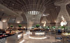 Картинка дизайн, стиль, интерьер, ресторан, морской отель