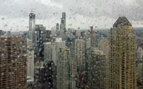 Обои капли, макро, город, окно, чикаго, chicago