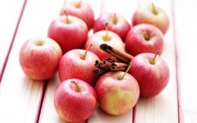 Обои яблоки, палочки, фрукты, корица