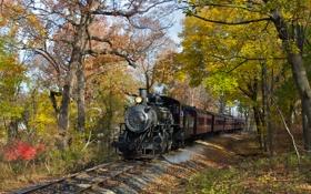 Обои осень, пейзаж, ретро, рельсы, паровоз, железная дорога, steam
