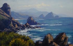 Картинка камни, artsaus, деревья, арт, скалы, берег, море