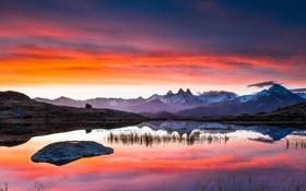Картинка снег, пейзаж, горы, озеро, отражение, рассвет