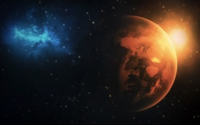 Обои туманность, звезды, планета