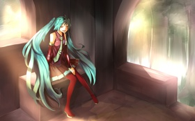 Картинка девушка, природа, Hatsune Miku, беседка, Vocaloid, Вокалоид, Хатсуне Мику