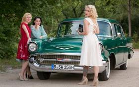 Картинка машина, фон, девушки, 1957 Chevrolet Model 57 BelAir