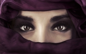 Картинка взгляд, фото, модель, красота, colorful, восток, eyes