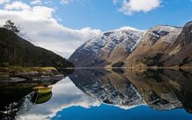 Картинка горы, озеро, отражение, лодка, Природа