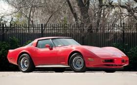 Обои красный, red, corvette, шевроле, chevrolet, корвет