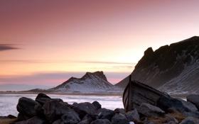 Картинка море, горы, лодка