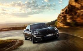 Обои скорость, Porsche, поворот, Panamera, порше, панамера, 2015