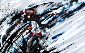 Обои оружие, краски, парень, мечи, art, DropVery