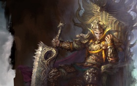 Обои меч, арт, парень, трон, доспех