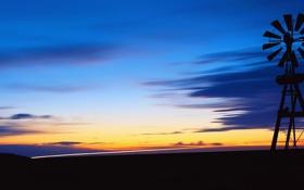Картинка небо, облака, закат, вечер, горизонт, метеозонд