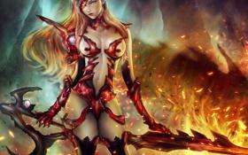Картинка девушка, огонь, меч, арт