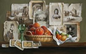 Обои стена, бокал, картина, арт, полка, фотографии, фрукты