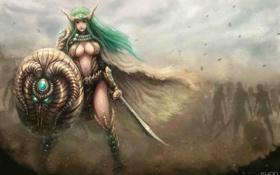 Картинка девушка, меч, армия, арт, щит