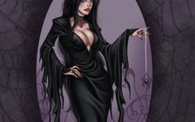 Обои лицо, поза, женщина, волосы, паук, платье, черное